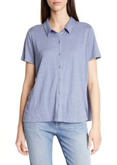 Eileen Fisher Short Sleeve Organic Linen Button Up Blouse (Regular & Petite)