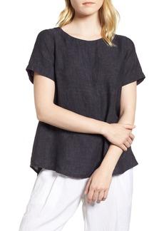 Eileen Fisher Short Sleeve Organic Linen Flutter Top (Regular & Petite)