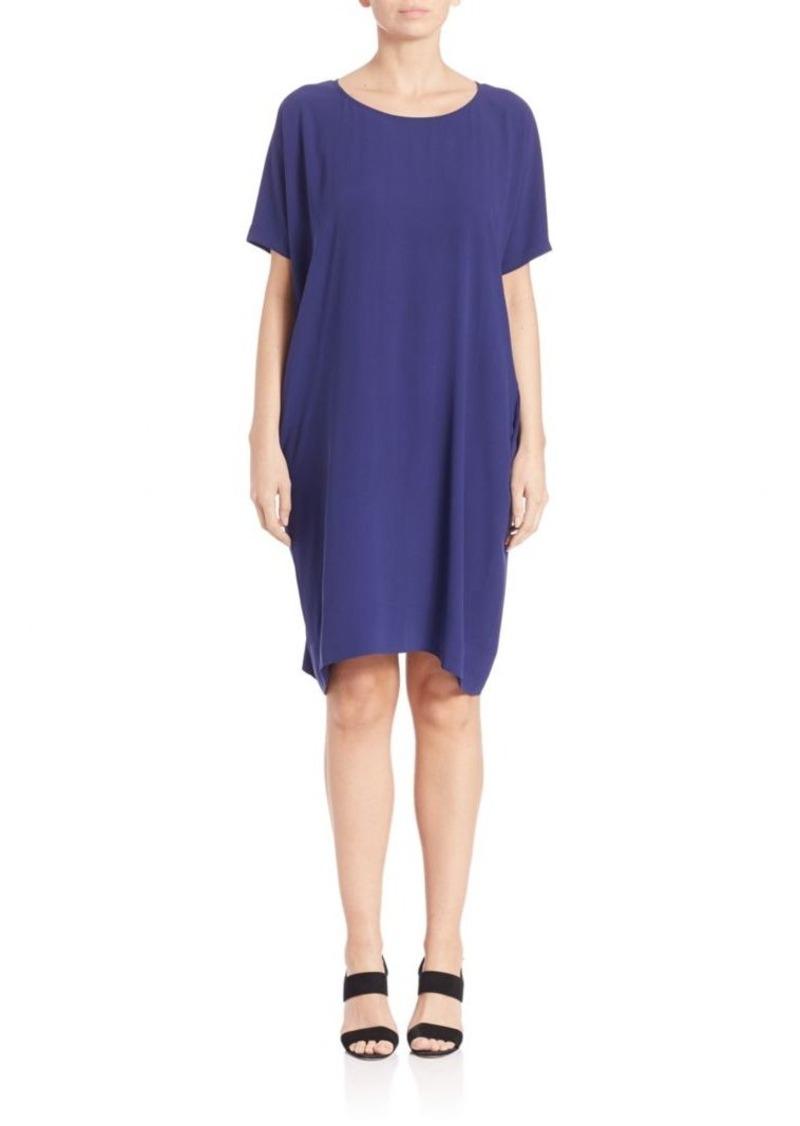 Eileen Fisher Short-Sleeve Silk Dress