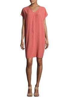 Eileen Fisher Short-Sleeve Silk Shift Dress