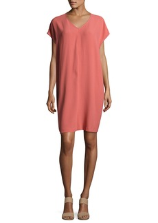 Eileen Fisher Short-Sleeve Silk Shift Dress