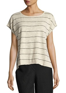 Eileen Fisher Short-Sleeve Striped Box Top