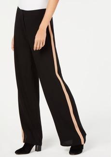 Eileen Fisher Side-Stripe Silk Wide-Leg Pants, Regular and Petite