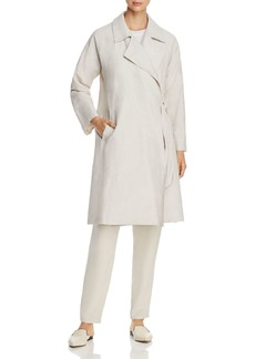 Eileen Fisher Side-Tie Organic Linen Trench Coat - 100% Exclusive