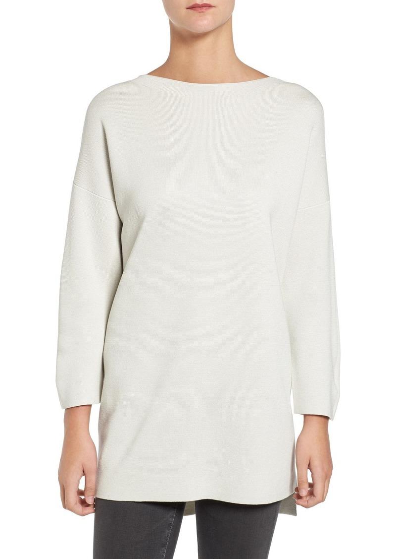 Eileen Fisher Silk & Cotton Interlock Sweater (Regular & Petite)