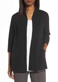 Eileen Fisher Silk & Organic Cotton Interlock Knit Funnel Neck Jacket