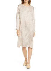 Eileen Fisher Silk & Organic Cotton Long Sleeve Henley Dress