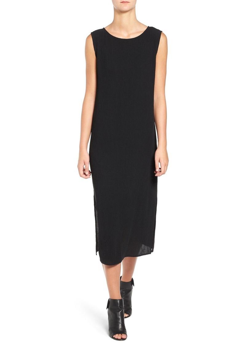 Eileen Fisher Silk Accordion Jacquard Bateau Neck Shift Dress