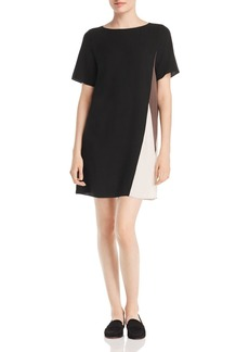 Eileen Fisher Silk Color Block Shift Dress