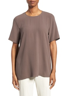Eileen Fisher Silk Crepe Round Neck Boxy Top