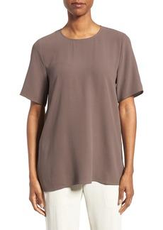 Eileen Fisher Silk Crepe Round Neck Boxy Top