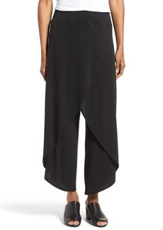 Eileen Fisher Silk Cross Front Wide Leg Pants