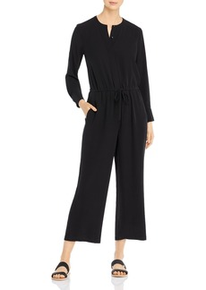 Eileen Fisher Silk Drawstring-Waist Cropped Jumpsuit