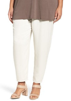 Eileen Fisher Silk Georgette Crepe Ankle Pants (Plus Size)