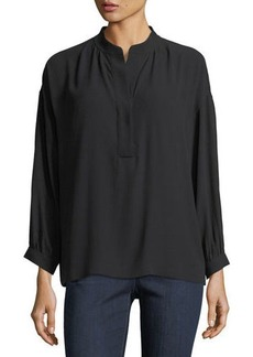 Eileen Fisher Silk Georgette Crepe Henley Blouse