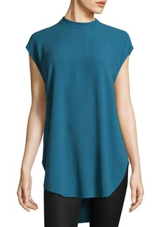 Eileen Fisher Silk Georgette Crepe High Neck Tunic