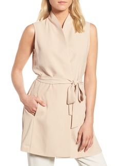 Eileen Fisher Silk Georgette Crepe Long Vest (Regular & Petite)