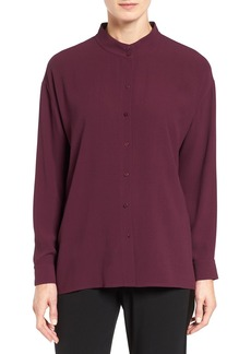 Eileen Fisher Silk Georgette Crepe Stand Collar Blouse