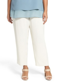 Eileen Fisher Silk Georgette Crepe Straight Ankle Pants (Plus Size)