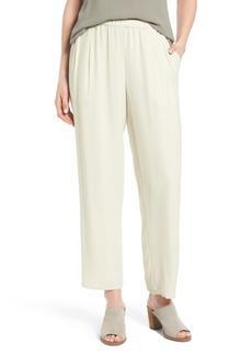 Eileen Fisher Silk Georgette Crepe Straight Ankle Pants (Regular & Petite)