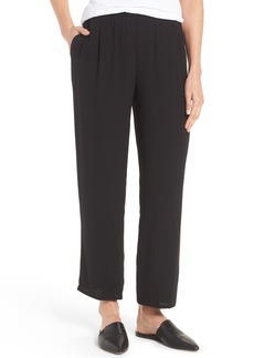 Eileen Fisher Silk Georgette Crepe Straight Ankle Pants