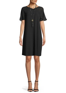 Eileen Fisher Silk Georgette Crepe V-Neck Dress