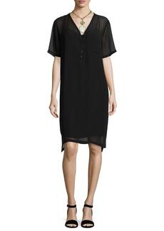 Eileen Fisher Silk Georgette V-Neck Shift Dress