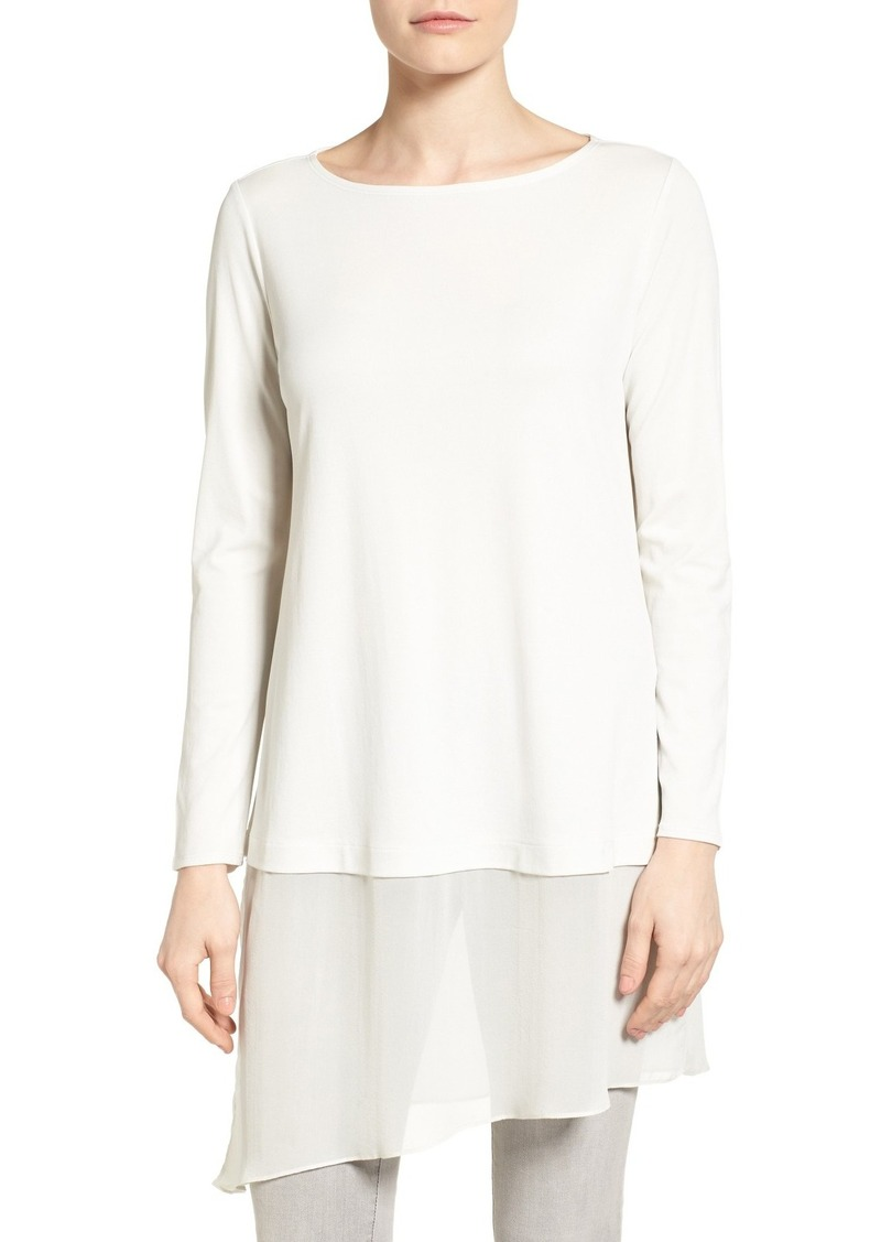 1378157e913 Eileen Fisher Eileen Fisher Silk Jersey & Chiffon Tunic (Regular ...