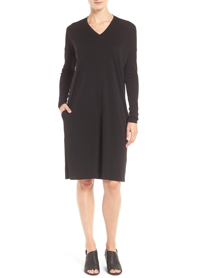 Eileen Fisher Silk Jersey V-Neck Shift Dress