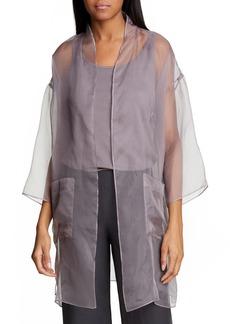 Eileen Fisher Sheer Silk Open Front Jacket (Regular & Petite)