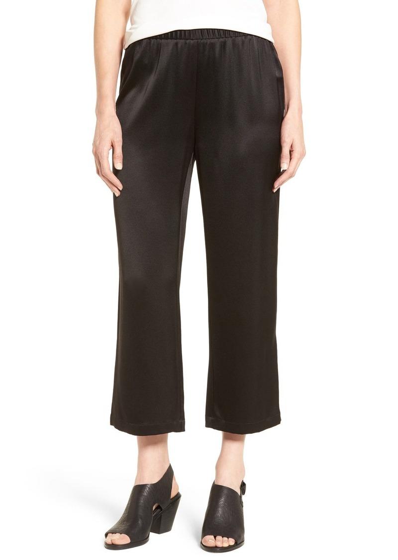 Eileen Fisher Silk Satin Crop Pants (Regular & Petite)