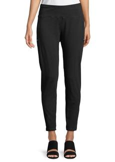 Skinny Slub Jersey Zipper Pants