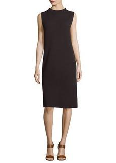 Eileen Fisher Sleeveless Funnel-Neck Wool Sheath Dress