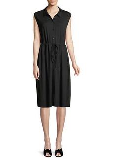 Eileen Fisher Sleeveless Lightweight Viscose Jersey Drawstring-Waist Shirtdress