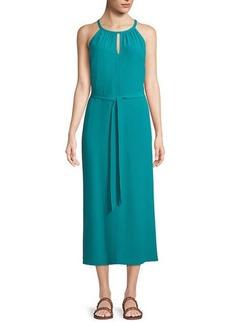 Eileen Fisher Sleeveless Long Viscose Crepe Halter Dress