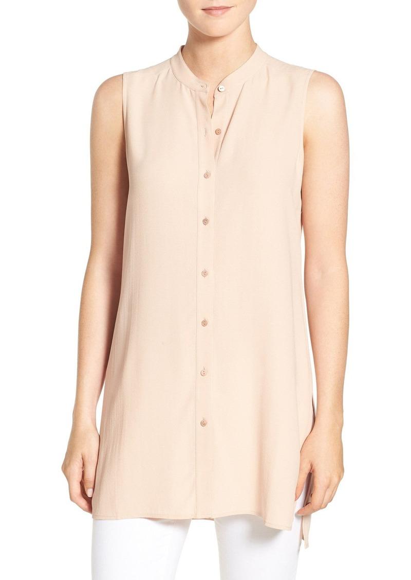 Eileen Fisher Sleeveless Mandarin Collar Silk Tunic (Regular & Petite)