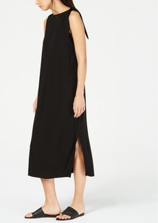 Eileen Fisher Sleeveless Midi Tencel Shoulder-Tie Dress
