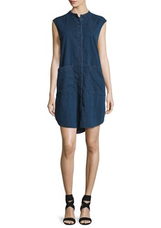 Eileen Fisher Sleeveless Stretch-Denim Shift Dress