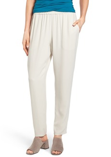 Eileen Fisher Slouchy Silk Crepe Ankle Pants (Regular & Petite)