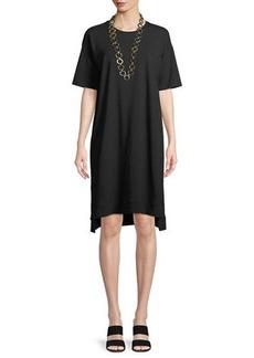 Eileen Fisher Slubby Organic Cotton Jersey Shift Dress