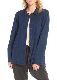 Eileen Fisher Soft Cotton Blend Denim Jacket