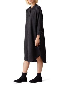Eileen Fisher Soft Long Sleeve Wool Flannel Shirtdress