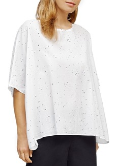 Eileen Fisher Splatter Print Cotton Box Top