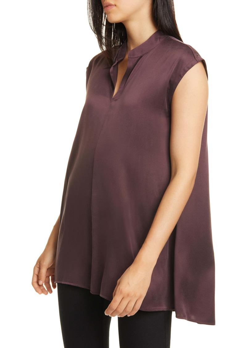 Eileen Fisher Split Collar Silk Tank Top