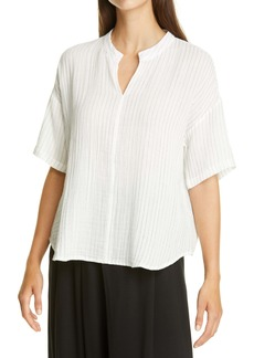 Eileen Fisher Split Neck Organic Cotton Top