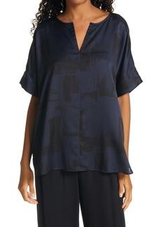 Eileen Fisher Split Neck Silk & Organic Cotton Boxy Top