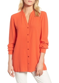 Eileen Fisher Split Neck Silk Blouse
