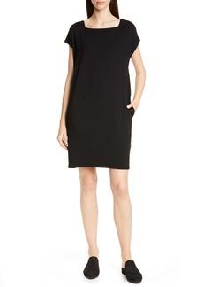Eileen Fisher Square Neck Tencel® Lyocell Blend Dress (Regular & Petite)