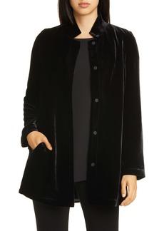 Eileen Fisher Stand Collar Long Velvet Jacket