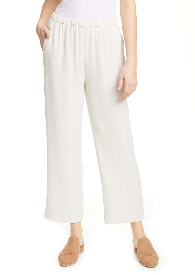 Eileen Fisher Straight Leg Silk Ankle Pants